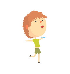 Cartoon boy playing with paper airplane kids vector