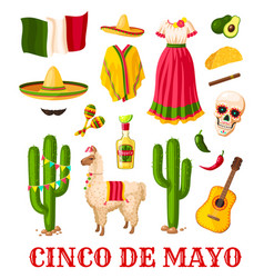 cinco de mayo mexican holiday celebration icon vector image