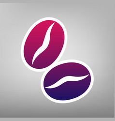 Coffee beans sign purple gradient icon on vector