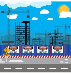 Construction site with buildings and cranes vector image vector image