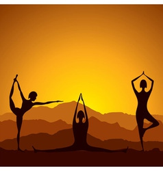 Different yoga women figure vector