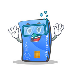 diving credit card character cartoon vector image vector image