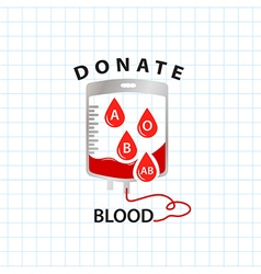 Donate blood concept with bag blood and drop blood vector