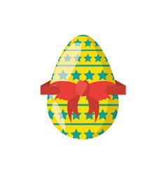 Easter egg stars ribbon decoration vector