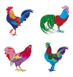 Four roosters series vector