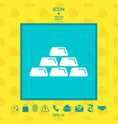 Gold bullion gold bar icon vector