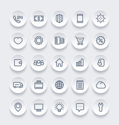 Icons for web 25 linear pictograms set vector