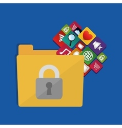 internet security folder files social media icons vector image