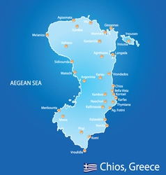 Island of chios in greece map vector