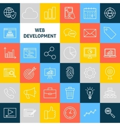 Line Web Development Icons vector image vector image