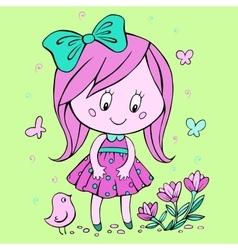 Little girl looks at flowers vector image