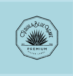 Logo tequila label blue agave premium vector