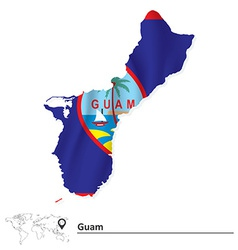 Map of guam with flag vector