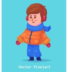 Pixel funnykid isolated on blue background vector