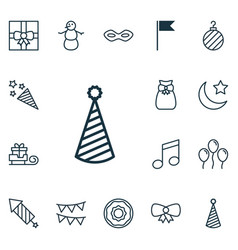 Set of 16 new year icons includes firecracker vector