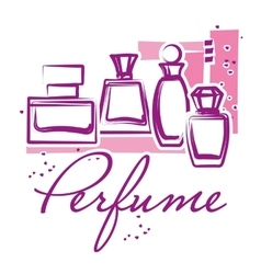 Set of hand drawn perfume bottles vector image vector image