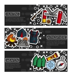 Set of Horizontal Banners about hunting vector image vector image