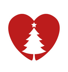 silhouette of a christmas tree in the heart vector image