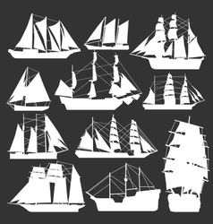 silhouette of boats vector image vector image