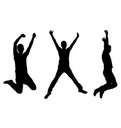 Silhouettes of people jumping vector