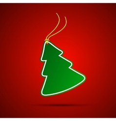 Simple green christmas tree with string vector image