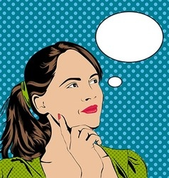 Thinking girl in pop art retro style vector image