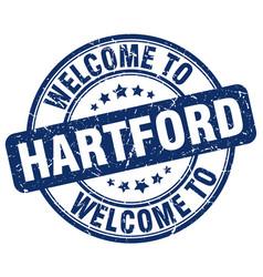 Welcome to hartford blue round vintage stamp vector