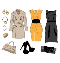 Woman wardrobe clothes accessories set vector image vector image