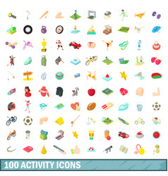 100 activity icons set cartoon style vector image