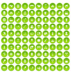 100 fire icons set green circle vector