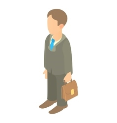 Businessman holding briefcase icon cartoon style vector