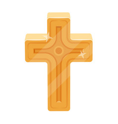 Golden cross easter single icon in cartoon style vector
