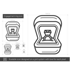 Engagement ring line icon vector