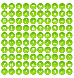 100 fire icons set green circle vector