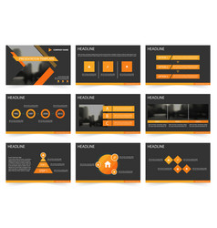 Orange black abstract presentation templates vector