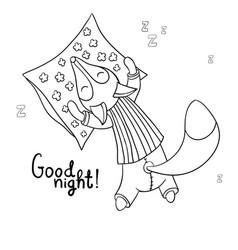 Cute cartoon sleeping fox in striped pajamas vector