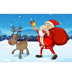 Santa and his deer walking vector image