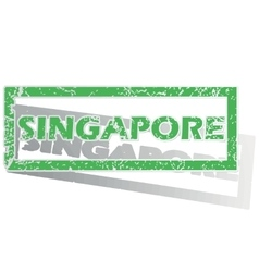 Green outlined singapore stamp vector