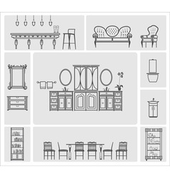 Home furniture icons set vector