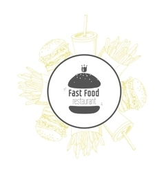 Fast food background and round label with hand vector