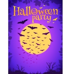 Purple halloween party background with flying bats vector