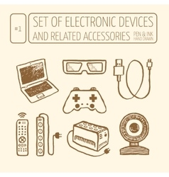 Icons set of electronic devices vector
