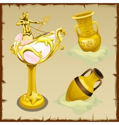 Antique gold vases and shape king of the seas vector