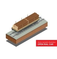 Open rail car for transportation of bulk cargoes vector