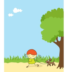 Girl walking dog vector