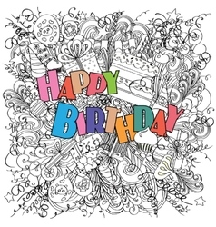 Happy birthday doodle greeting card on white vector
