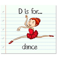 Flashcard letter d is for dance vector
