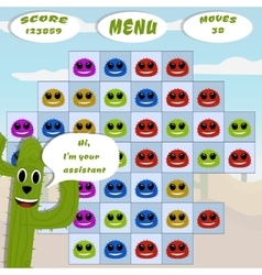 Gaming locations funny logic cactus desert vector