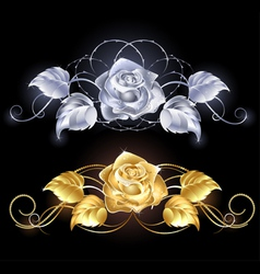 Gold and silver rose vector image