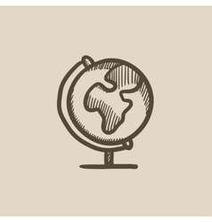 World globe on stand sketch icon vector